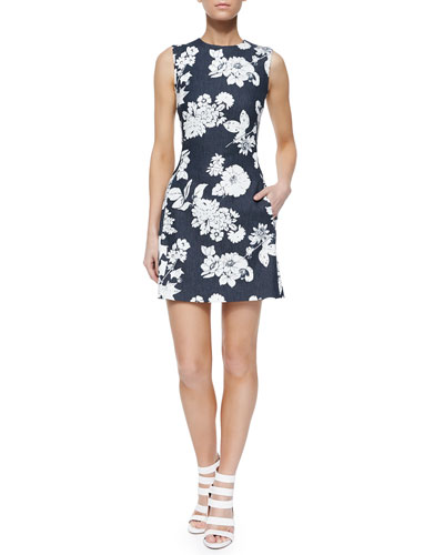 Franco Floral-Print Chambray Dress, Midnight/White