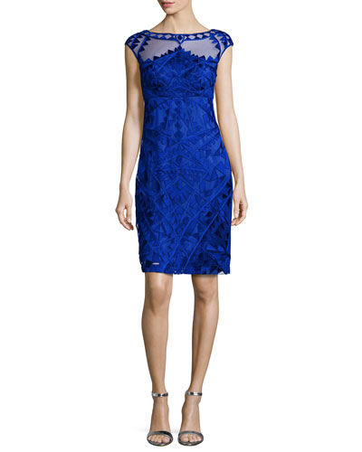 Embroidered Cap-Sleeve Sheath Cocktail Dress, Cobalt