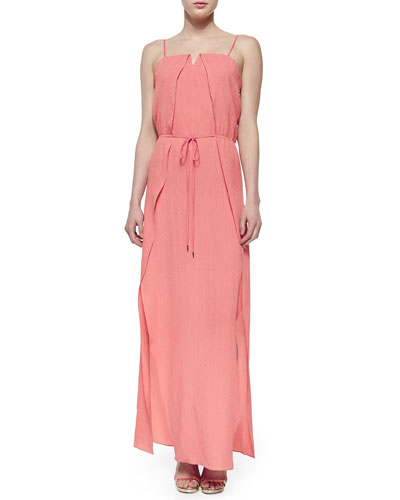 Sleeveless Overlay Belted Maxi Dress