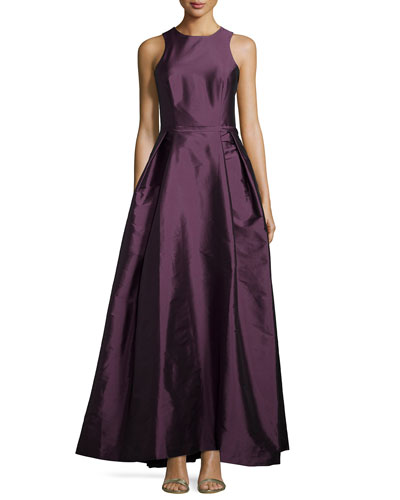Sleeveless Crisscross-Back Gown, Aubergine