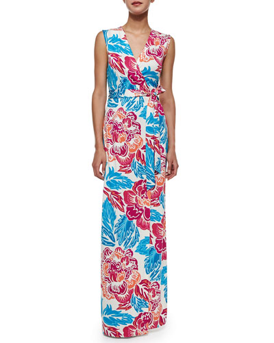 Sleeveless Ditzy Floral-Print Wrap Maxi Dress