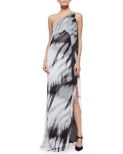 One-Shoulder Tie-Dye Long Caftan Dress
