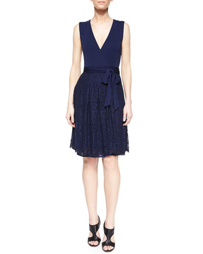 Wrap-Front Lace-Skirt Combo Dress, Navy
