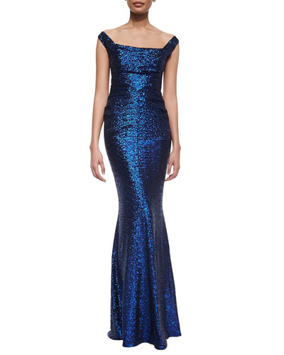 Foin Off-The-Shoulder Sequined Mermaid Gown