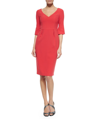 Ponte V-Neck Sheath Dress, Haute Melon