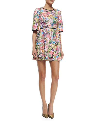 Floral Quilted A-Line Minidress, Multicolor