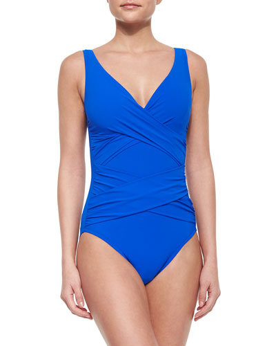 One-Piece Swimsuit with Crisscross Front, Cobalt