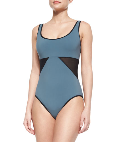 Scoop-Neck Underwire Swimsuit with Geo Panels, Nickel/Black