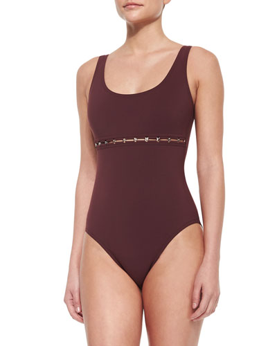 Silent Underwire One-Piece Swimsuit with Link Detail, Mahogany