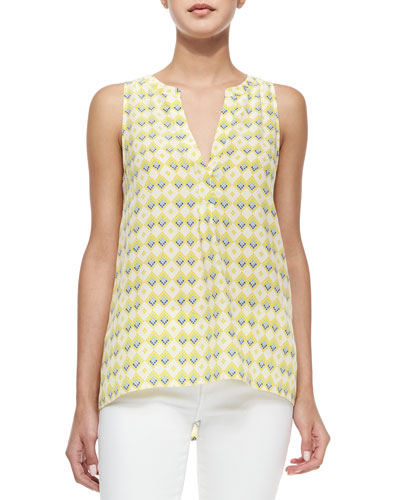 Aruna Sleeveless Diamond-Print Top
