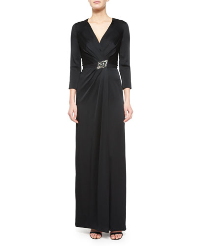 Crystal-Embellished 3/4-Sleeve Satin Gown, Black