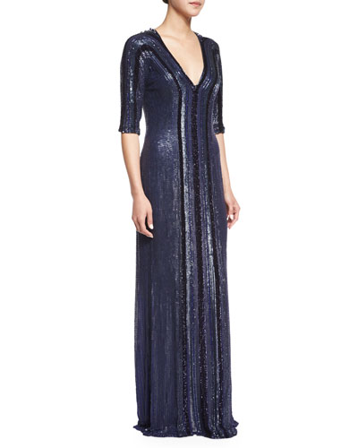 Allover Beaded Column Gown