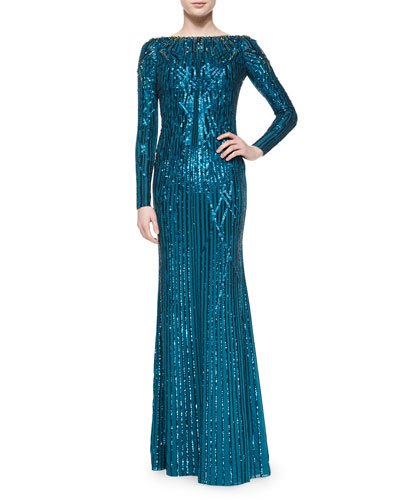 Geometric-Sequined Long-Sleeve Gown