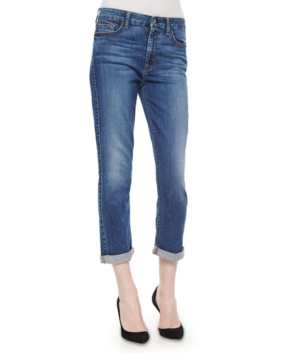 Lavierra Wash Cropped Roll-Cuff Jeans, Navy