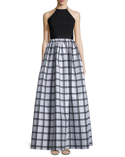 Sleeveless Gingham Combo Gown, Black/Silver