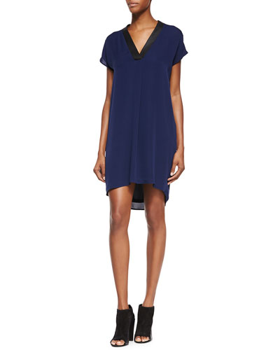 Leather-Trim Popover Tunic/Dress, Blue Marine