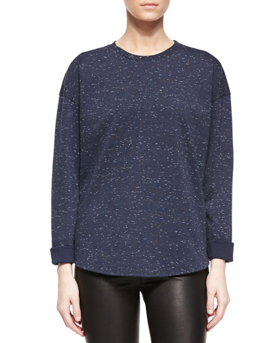 Speckled Long-Sleeve Sweater, Heather Coastal