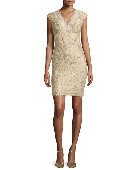 Cap Sleeve Embellished Lace Sheath Dress