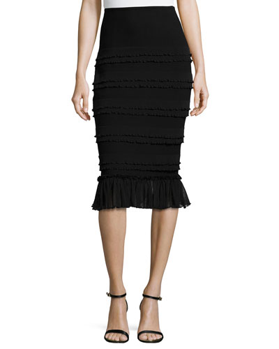 Tiered Pencil Skirt W/ Flounce Hem
