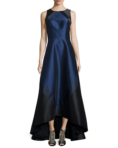Sleeveless Colorblock High-Low Gown, Midnight