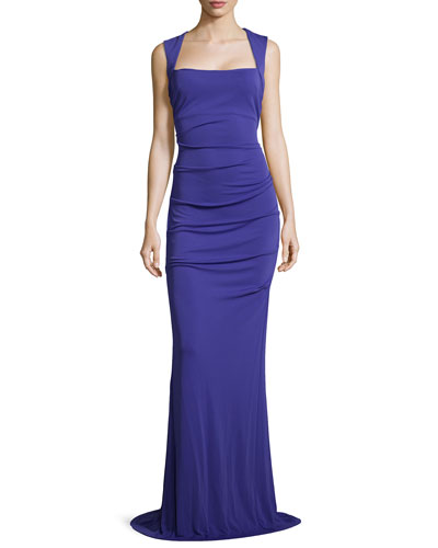Felicity Ruched Gown, Cobalt