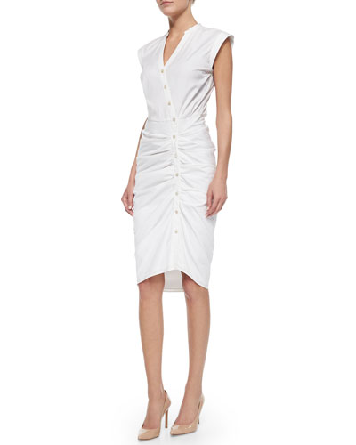 Cap-Sleeve Ruched Shirtdress