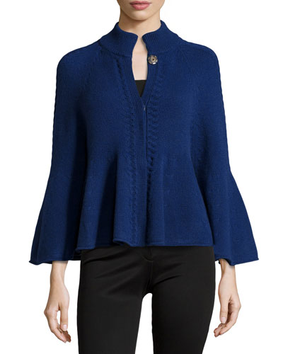Ribbed Cashmere Capelet, Ultramarine