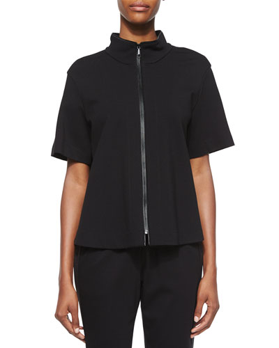 Beverly Short-Sleeve Funnel-Neck Jacket, Black
