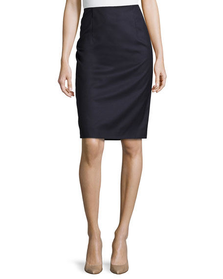 d1c2201e57 Carolina Herrera Wool Pencil Skirt, Navy