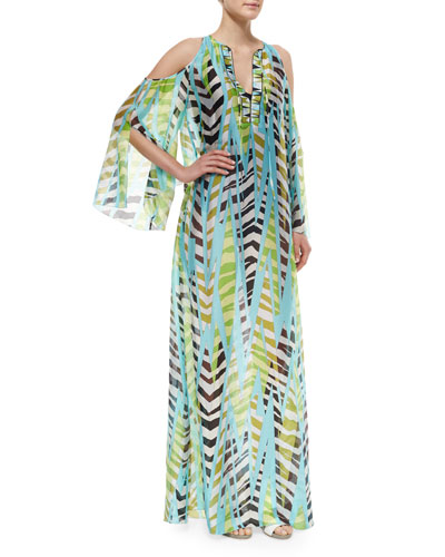Printed Open-Shoulder Silk Coverup
