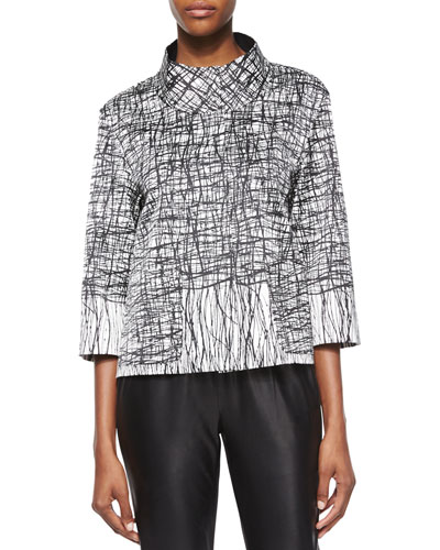 Darian 3/4-Sleeve Printed Topper Jacket