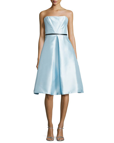 Strapless Belted Tea-Length Cocktail Dress