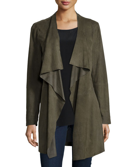 jacket brown product lyst normal suede faux beige kooples clothing the drapes camel in draped gallery