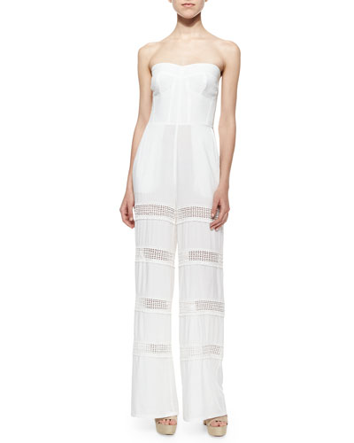 Appleton Sheer-Inset Strapless Jumpsuit, Mineral