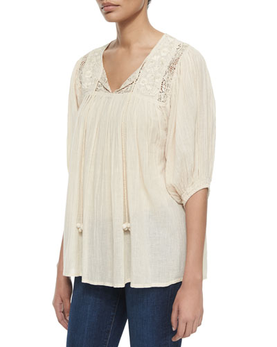 Florablanca Embroidered Tunic, Bisque