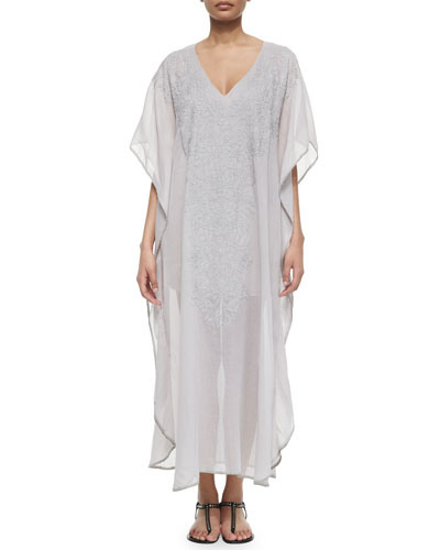 Kaila Embroidered Long Coverup
