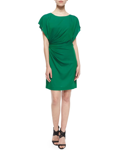 Ruched Jenna Sheath Dress, Hunter Green