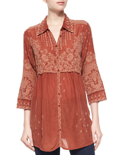 Austin 3/4-Sleeve Empire-Waist Embroidered Blouse