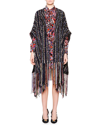 Striped Poncho W/ Pearly Beads & Stones