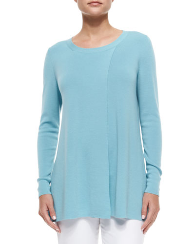 Bias-Seamed 120s Wool A-line Sweater