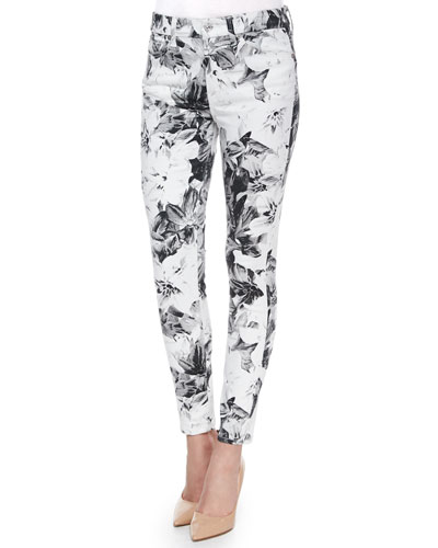 High-Waist Skinny Ankle Jeans, X-Ray Floral