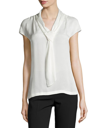 Cap-Sleeve Woven Blouse, Off White