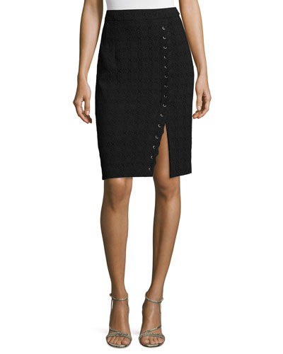Textured Pencil Skirt W/Lace-Up Slit, Black
