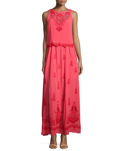 Embroidered Popover Maxi Dress
