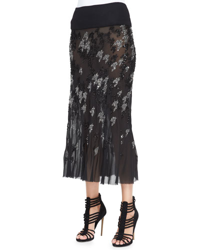 Crystal Houndstooth-Embroidered Midi Skirt
