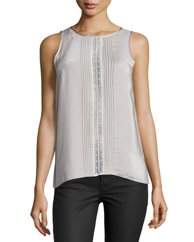 Lace-Trim Pleated Top, Opal