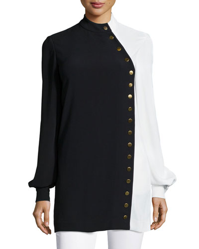 McKell Two-Tone Long-Sleeve Blouse, Black/White