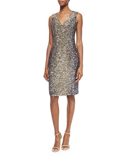 Sleeveless Sequin Cocktail Dress, Gunmetal/Deco Gold
