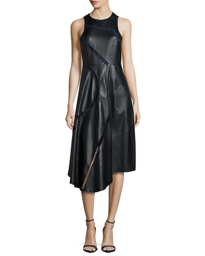 Asymmetric Leather Midi Dress, Black