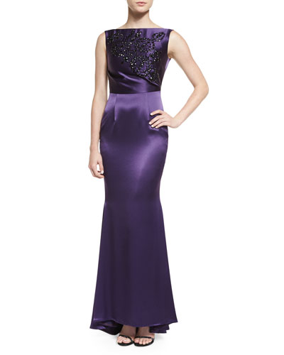 Sleeveless Embellished Gown, Purple